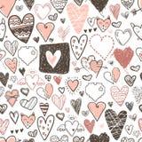 Картина смешных значков сердец doodle безшовная Валентинка нарисованная рукой Стоковая Фотография RF