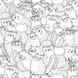 Картина смешных котов черно-белая безшовная стоковое изображение