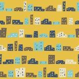 Картина смешных домов безшовная Стоковое фото RF