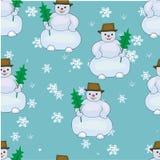 Картина снеговика безшовная Стоковая Фотография