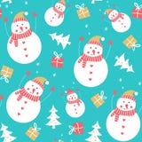 Картина снеговика безшовная иллюстрация вектора