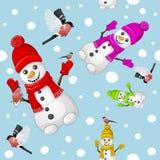 Картина снеговика с bullfinch над предпосылкой снежинок стоковое изображение