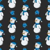 Картина снеговиков с перчатками Стоковое Изображение RF