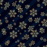 Картина снежинки золота рождества безшовная Золотые снежинки на голубой и белой диагонали выравнивают предпосылку Текстура снега  иллюстрация штока