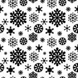Картина снежинок черно-белая безшовная Стоковые Фотографии RF