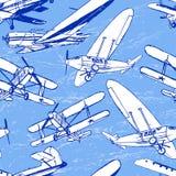 Картина советских ретро самолетов безшовная Стоковое Фото