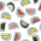 Картина современного плодоовощ безшовная арбуз предпосылки editable полный Большой для ткани детей, ткани, etc также вектор иллюс Стоковые Изображения