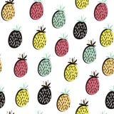 Картина современного плодоовощ безшовная Предпосылка с ананасом Большой для ткани детей, ткани, etc также вектор иллюстрации прит Стоковые Фото