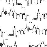 Картина современного силуэта города безшовная Иллюстрация вектора для городского дизайна Обои строительной конструкции Городок ис иллюстрация штока