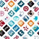 Картина социальных икон средств безшовная Стоковое Изображение