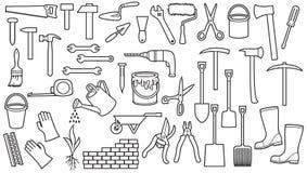 Картина со значками садовых инструментов бесплатная иллюстрация