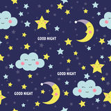 Картина спокойной ночи безшовная с милой луной, звездами и облаками спать Предпосылка сладостных мечт также вектор иллюстрации пр Стоковая Фотография RF