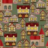 Картина средневекового города безшовная Стоковое Изображение RF