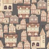 Картина средневекового города безшовная Стоковое фото RF