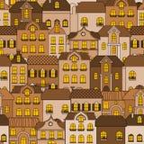 Картина старого городка безшовная Стоковые Фото