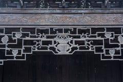 Картина старого китайского woodcut стрех архитектуры красивого геометрическая стоковое фото rf