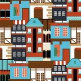 Картина старого дома вектора безшовная Современная панорама cottege предпосылка Германии города для вашего дизайна смогите быть и Стоковые Фотографии RF