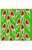 Картина стикера тюльпанов на зеленой предпосылке Стоковое Изображение