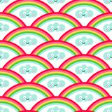Картина стиля радуги и kawaii безшовная иллюстрация штока