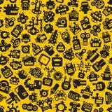 Картина сторон роботов шаржа безшовная на желтом цвете. иллюстрация вектора