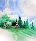 картина страны церков Стоковое Фото