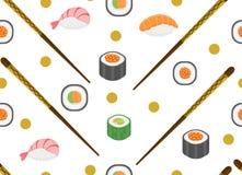 Картина суш установленная безшовная Предпосылка Rolls бесконечная Текстура японской кухни повторяющийся Фон, обои вектор Стоковое Изображение