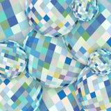 Картина сфер конспекта стеклянная схематическая Белая голубая желтая кристаллическая предпосылка иллюстрация вектора