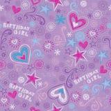 Картина схематичных Doodles девушки дня рождения безшовная иллюстрация вектора