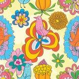 Картина счастливых цветков птицы нот безшовная Стоковое Фото