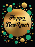 Картина счастливого золота Нового Года роскошного безшовная на черной предпосылке в ультрамодном геометрическом стиле Стоковое фото RF