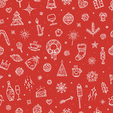 Картина счастливого Нового Года безшовная Элементы нарисованные рукой различные Стоковая Фотография RF