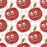 Картина счастливого персика шаржа безшовная Стоковая Фотография RF