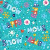 Картина счастливой зимы снега безшовная Стоковое Изображение