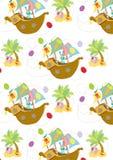 Картина счастливой охоты пасхального яйца безшовная Стоковые Изображения RF