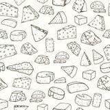 Картина сыра Безшовная предпосылка с сыром нарисованным рукой различным Стоковое Изображение RF