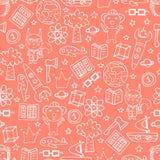 Картина с белыми doodles, коалы персика безшовная, белки Стоковые Фотографии RF