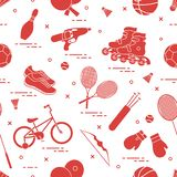Картина с велосипедом, роликами, перчатками бокса, пистолетом воды и товарами для боулинга, настольного тенниса, тенниса, бадминт иллюстрация вектора