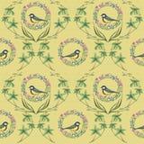 Картина с венком и птицами иллюстрация штока