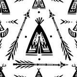 Картина с вигвамом и стрелками мочи тройника Стоковая Фотография