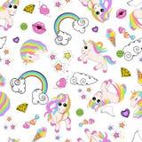 Картина с единорогами, радуга, облака, сердце с крыльями, губами, звездами иллюстрация штока