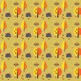 Картина с ежами, сычами, грибами, яблоками и tre Стоковое Изображение RF
