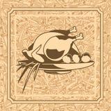 Картина с жареной курицей Стоковые Фотографии RF