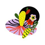 Картина с желтыми и красными тропическими цветками стоковые изображения