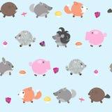 Картина с дикими животными, грибами и ягодами Печать для тканей, тетрадей Стоковое Изображение RF