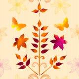 Картина с листьями акварели, цветками Стоковое фото RF