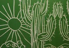 Картина с кактусом и солнцем на доске Стоковые Изображения RF
