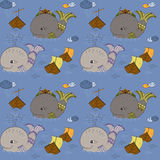 Картина с китами и шлюпками Стоковые Фотографии RF