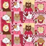 Картина с котами в окнах Стоковые Изображения RF