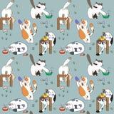 Картина с котами и едой Стоковые Фотографии RF