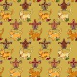 Картина с котами, мельницами и mouses Стоковые Фотографии RF